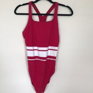 ATHENA Collection stripe one-piece swimsuit